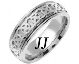 White Gold Celtic Design Wedding Band 7.5mm WG-2142