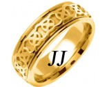 Yellow Gold Celtic Design Wedding Band 7.5mm YG-2143