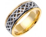 Two Tone Gold Celtic Design Wedding Band 8mm TT-2150
