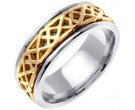 Two Tone Gold Celtic Design Wedding Band 8mm TT-2151
