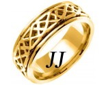 Yellow Gold Celtic Design Wedding Band 8mm YG-2154