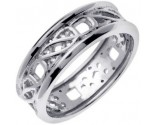 White Gold Celtic Design Wedding Band 7mm WG-2161