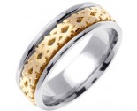 Two Tone Gold Celtic Design Wedding Band 7mm TT-2170