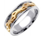 Two Tone Gold Celtic Design Wedding Band 7mm TT-2180