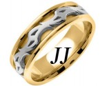 Two Tone Gold Celtic Design Wedding Band 7mm TT-2184