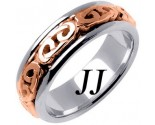 Two Tone Gold Celtic Design Wedding Band 7mm TT-2203