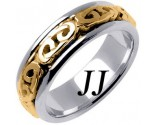 Two Tone Gold Celtic Design Wedding Band 7mm TT-2204