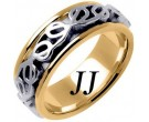 Two Tone Gold Celtic Design Wedding Band 8mm TT-2213