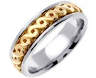Two Tone Gold Celtic Design Wedding Band 7mm TT-2240