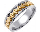 Two Tone Gold Celtic Design Wedding Band 7mm TT-2270