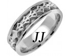 White Gold Celtic Design Wedding Band 7mm WG-2272