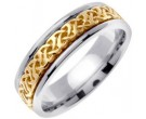 Two Tone Gold Celtic Design Wedding Band 6mm TT-2280