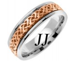 Two Tone Gold Celtic Design Wedding Band 6mm TT-2284