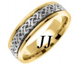 Two Tone Gold Celtic Design Wedding Band 6mm TT-2285