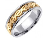 Two Tone Gold Celtic Design Wedding Band 7mm TT-2290