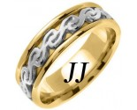 Two Tone Gold Celtic Design Wedding Band 7mm TT-2294