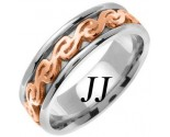 Two Tone Gold Celtic Design Wedding Band 7mm TT-2295