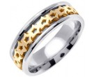 Two Tone Gold Celtic Design Wedding Band 7mm TT-2300