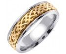 Two Tone Gold Celtic Design Wedding Band 7mm TT-2310