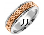 Two Tone Gold Celtic Design Wedding Band 7mm TT-2314