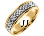 Two Tone Gold Celtic Design Wedding Band 7mm TT-2315