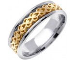 Two Tone Gold Celtic Design Wedding Band 7mm TT-2320
