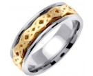 Two Tone Gold Celtic Design Wedding Band 7mm TT-2330