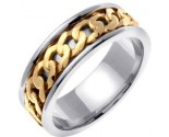 Two Tone Gold Celtic Design Wedding Band 7mm TT-2340