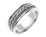 White Gold Hand Braided Wedding Band 7mm WG-251