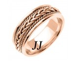 Rose Gold Hand Braided Wedding Band 7mm RG-251