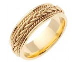 Yellow Gold Hand Braided Wedding Band 7mm YG-252