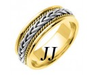 Two Tone Gold Hand Braided Wedding Band 7mm TT-252A