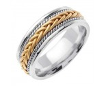 Two Tone Gold Hand Braided Wedding Band 7mm TT-252B