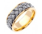 Two Tone Gold Hand Braided Wedding Band 8mm TT-255A