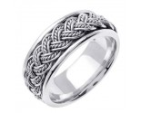 White Gold Hand Braided Wedding Band 8mm WG-255