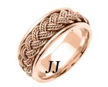 Rose Gold Hand Braided Wedding Band 8mm RG-255