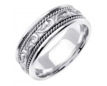 White Gold Paisley Carved Wedding Band 7mm WG-256