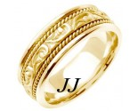 Yellow Gold Paisley Wedding Band 7mm YG-256
