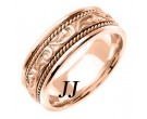 Rose Gold Paisley Carved Wedding Band 7mm RG-256