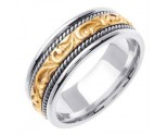 Two Tone Gold Paisley Carved Wedding Band 7mm TT-256A