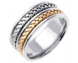 Two Tone Gold Hand Braided Wedding Band 9mm TT-257A