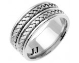 White Gold Hand Braided Wedding Band 9mm WG-257