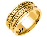 Yellow Gold Hand Braided Wedding Band 9mm YG-257