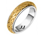 Two Tone Gold Hand Braided Wedding Band 6mm TT-258A