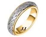 Two Tone Gold Hand Braided Wedding Band 6mm TT-258B