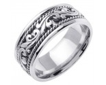 White Gold Paisley Wedding Band 9mm WG-259