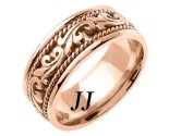Rose Gold Paisley Wedding Band 8mm RG-265