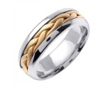 Two Tone Gold Hand Braided Wedding Band 7mm TT-260A