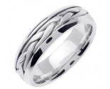 White Gold Hand Braided Wedding Band 7mm WG-260