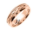 Rose Gold Hand Braided Wedding Band 7mm RG-260